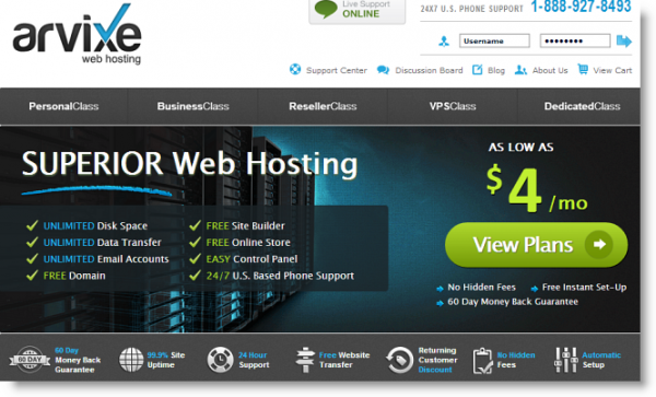 arvixe hosting home