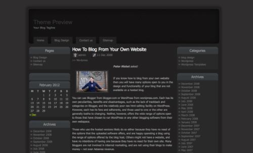100 best black and white wordpress themes in 2012 free