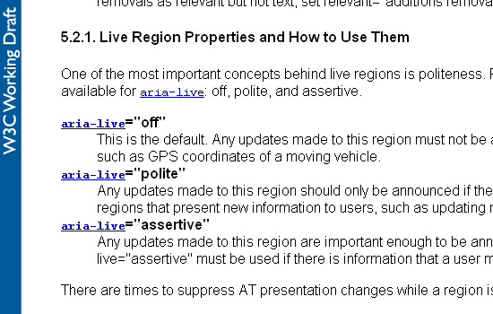 Portion of W3C ARIA page showing Live Region properties.