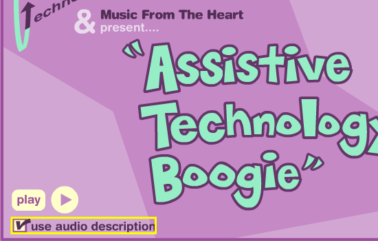 Interface of Assistive Technology Boogie; option for audio description is highlighted.