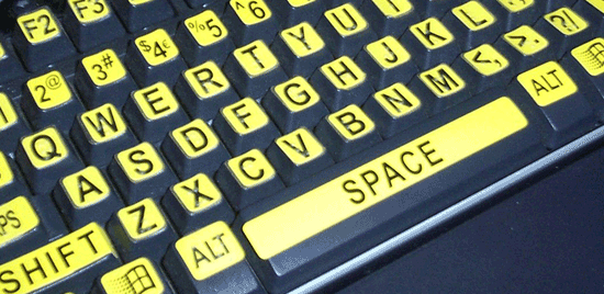 Closeup photo of a low-vision keyboard.