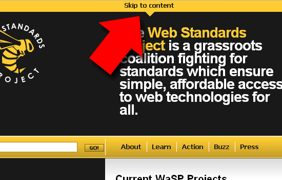 Portion of webstandards.org website with arrow pointing to the skip to content feature.