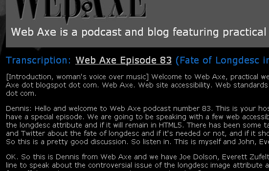 Web page of a podcast transcription.