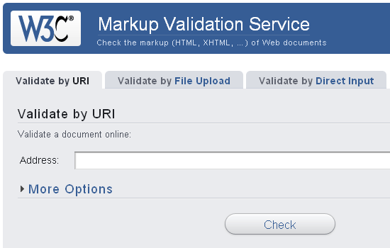W3C Markup Validation Sevice website.