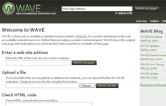The WAVE website home page.